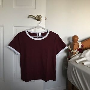 NWOT maroon shirt with white accents !!